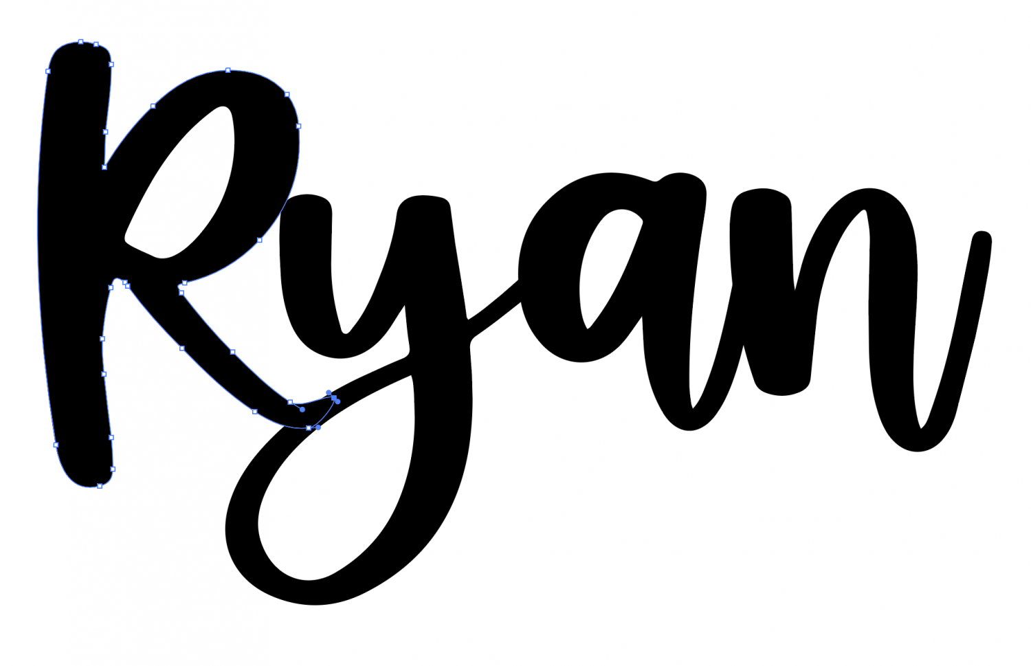Closeup of Ryan with the tail of the R smoothed out in AI