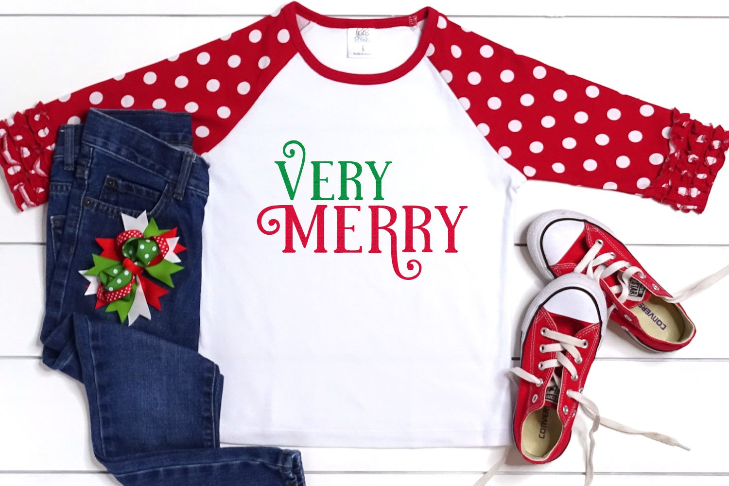 "Kid's t-shirt with ""Very Merry"" in The Holidays font"