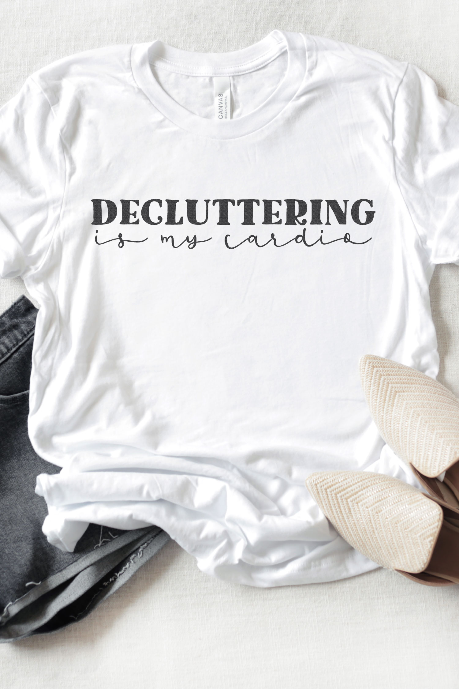 Decluttering is my Cardio SVG on white t-shirt