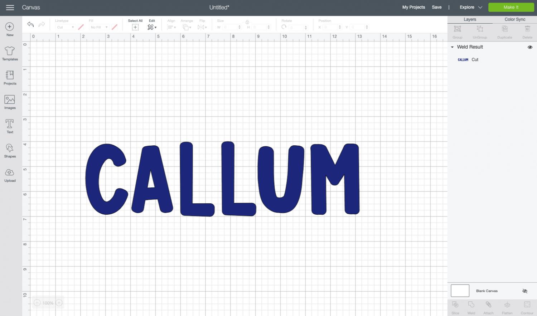 Cricut Design Space: the name Callum on the canvas.