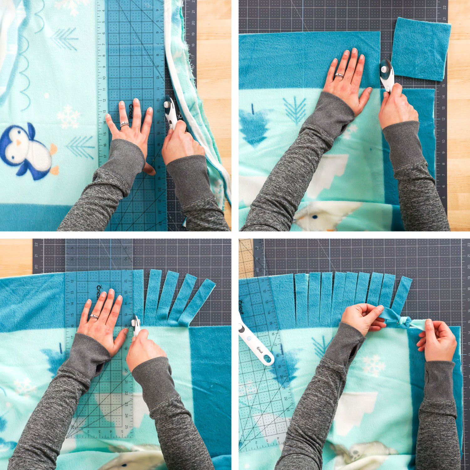 Steps for making the blanket: square up the fabric, cut the corners, make the fringe, tie the knots.