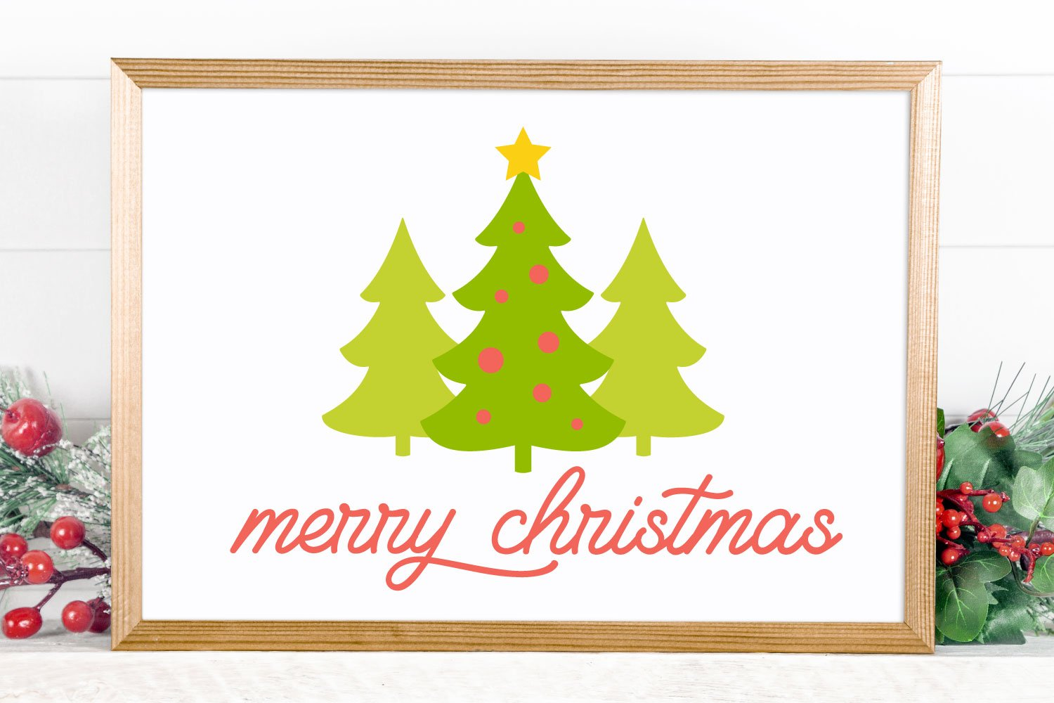 merry christmas trees SVG mockup in frame
