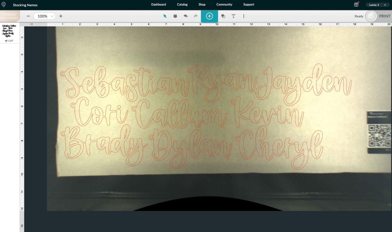 Glowforge screenshot with image on draftboard