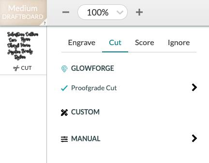 Screenshot of Glowforge settings