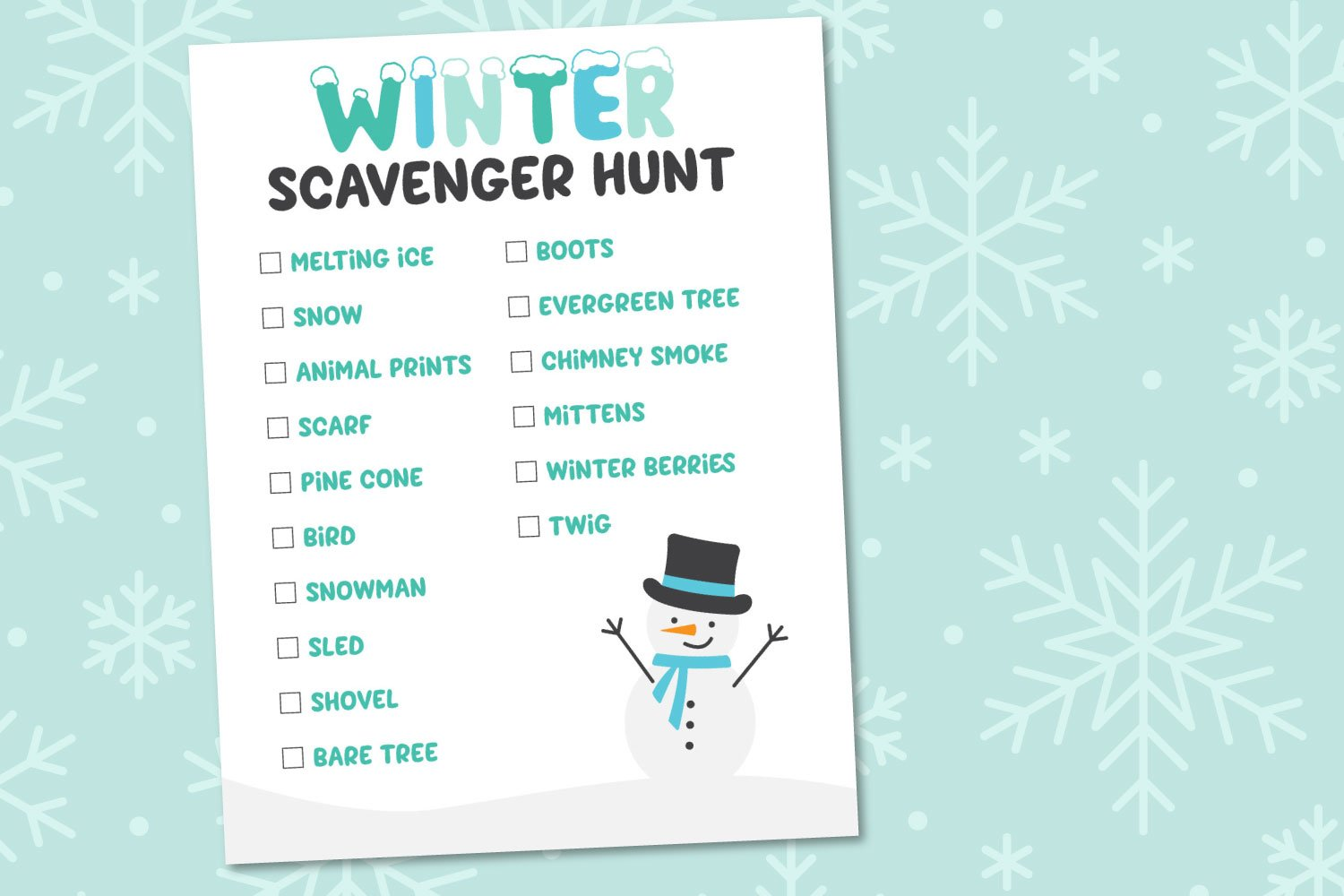 Winter Scavenger Hunt on snowy background