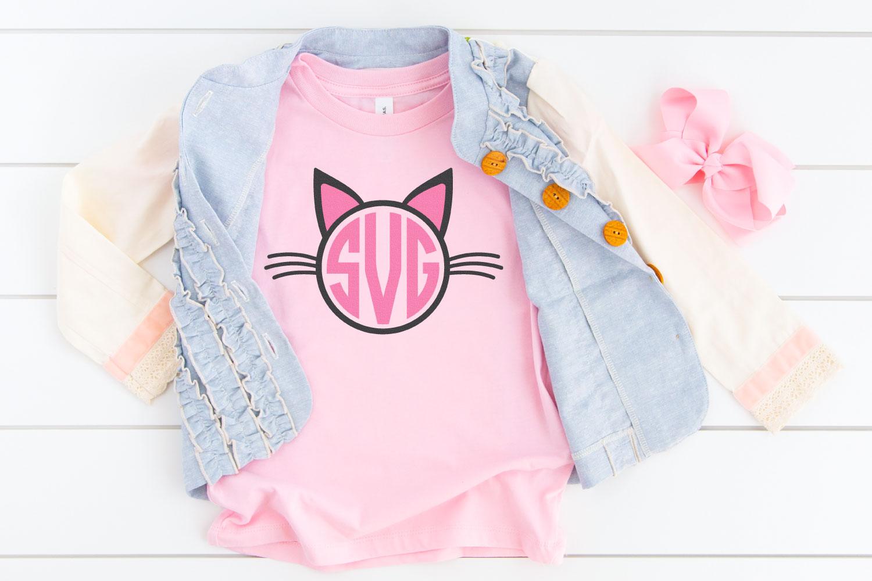 Cat monogram on pink kid's shirt