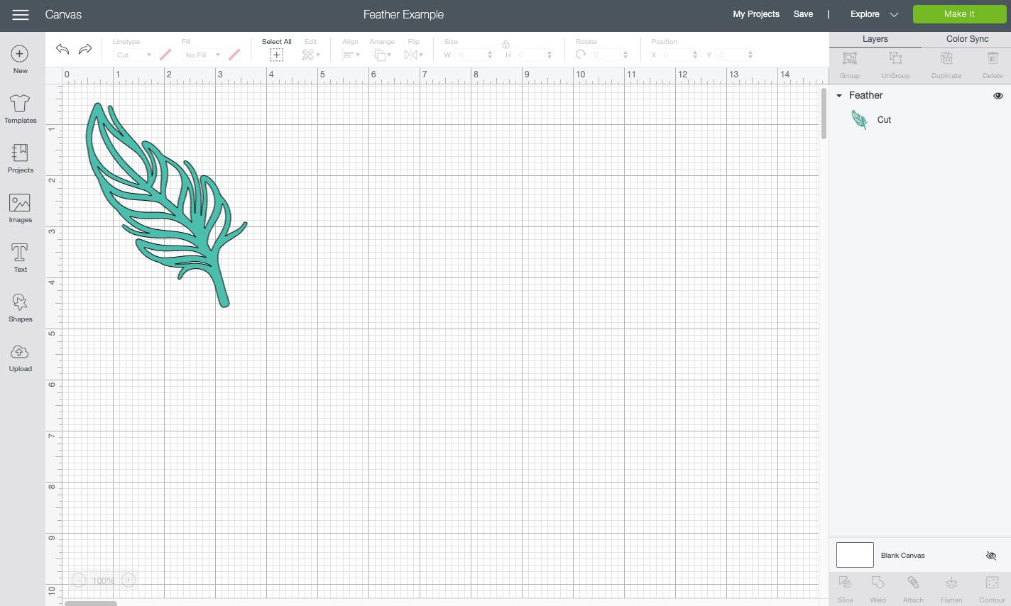 Cricut Design Space: single feather on mat