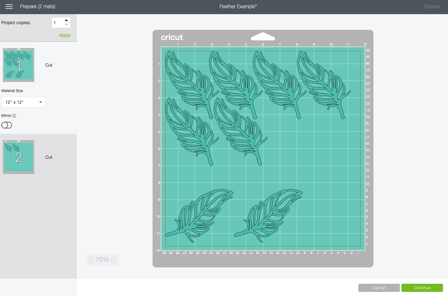Cricut Design Space: First six feathers all nested together on the mat.