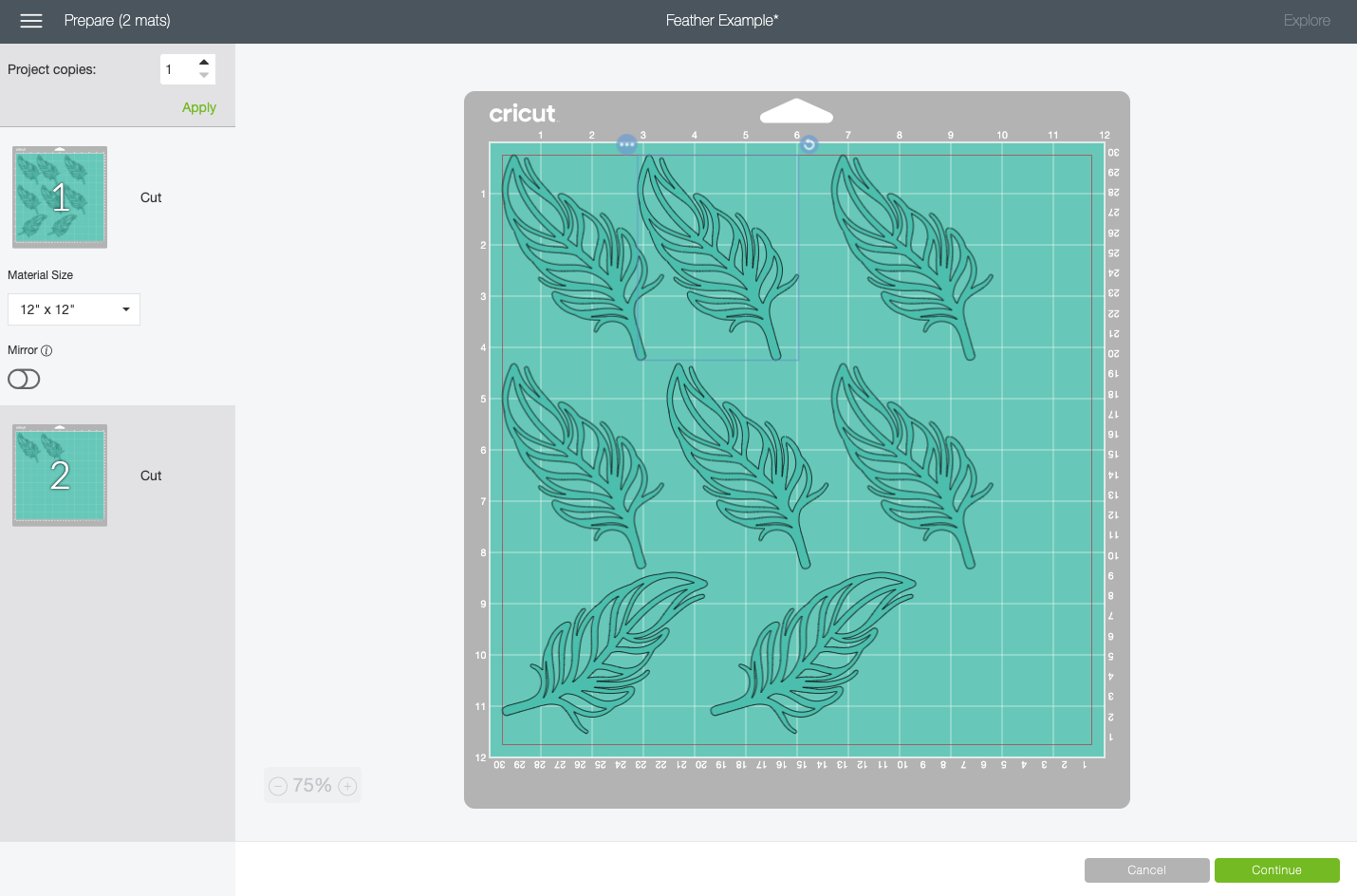 Cricut Design Space: showing how to select and move feather image