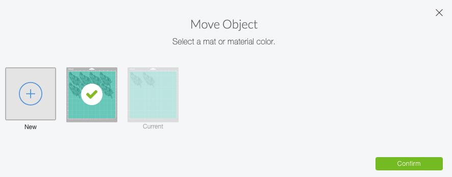 Cricut Design Space: Move Object Dialogue Box