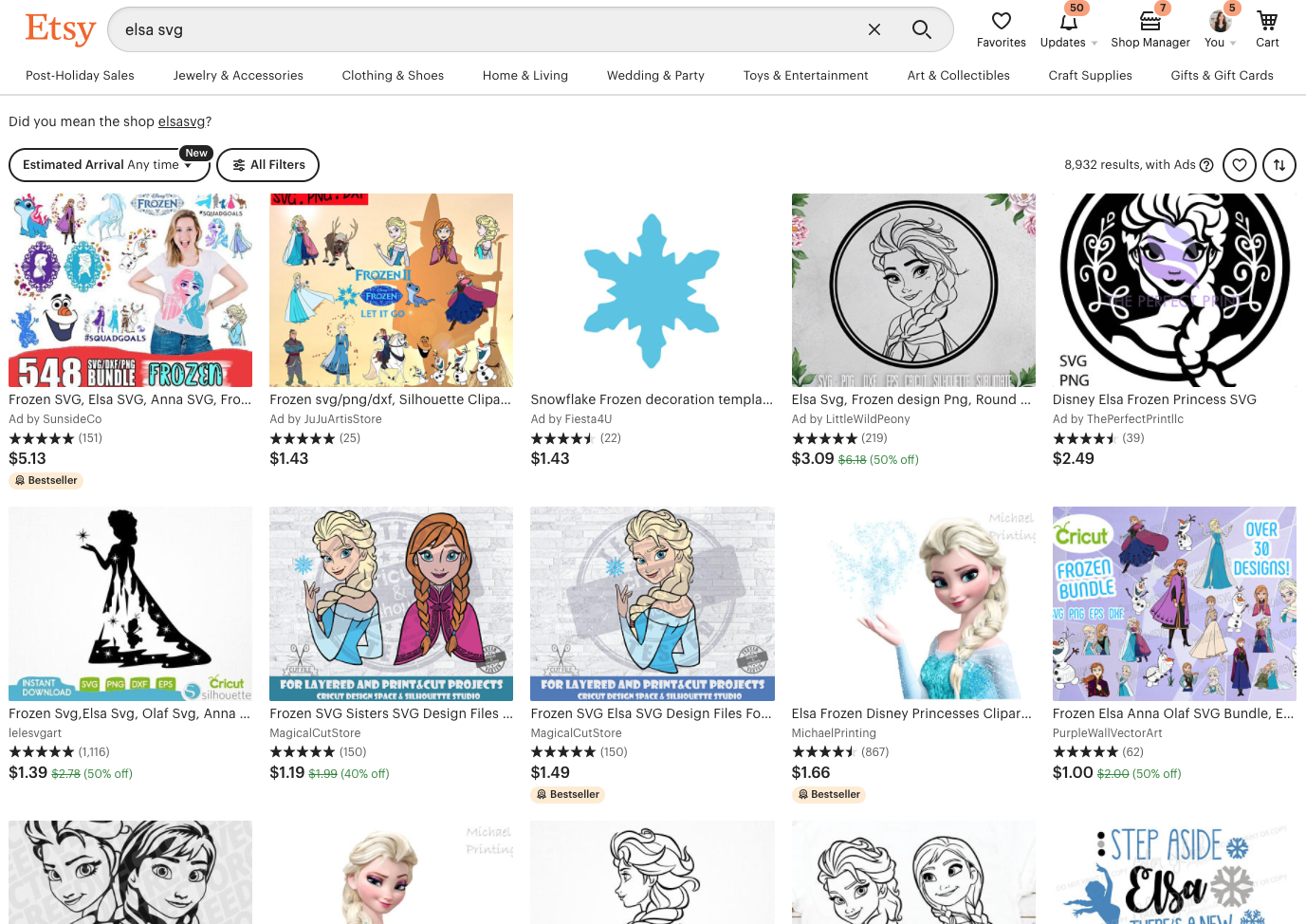 Screenshot of Etsy with Elsa (Frozen) images