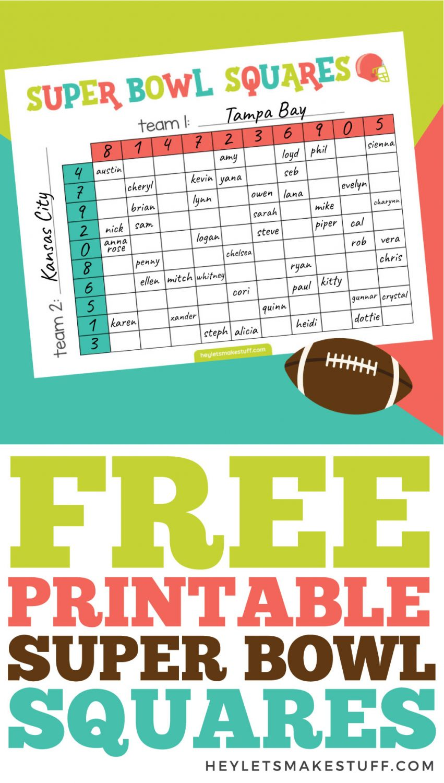 Free printable Super Bowl Squares pin image