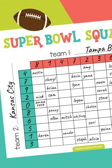 Mockup of Superbowl Squares game on teal, green, and pink background
