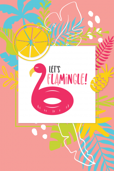 Let's Flamingle SVG on Tropical Background