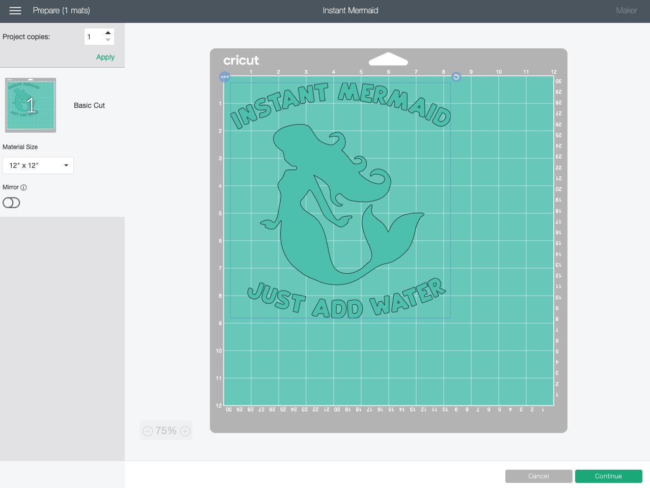 Cricut Design Space: Instant Mermaid in Prepare Screen
