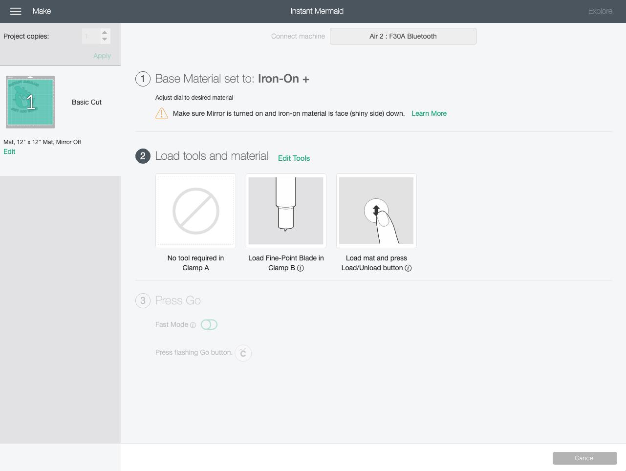 Cricut Design Space: Make Screen