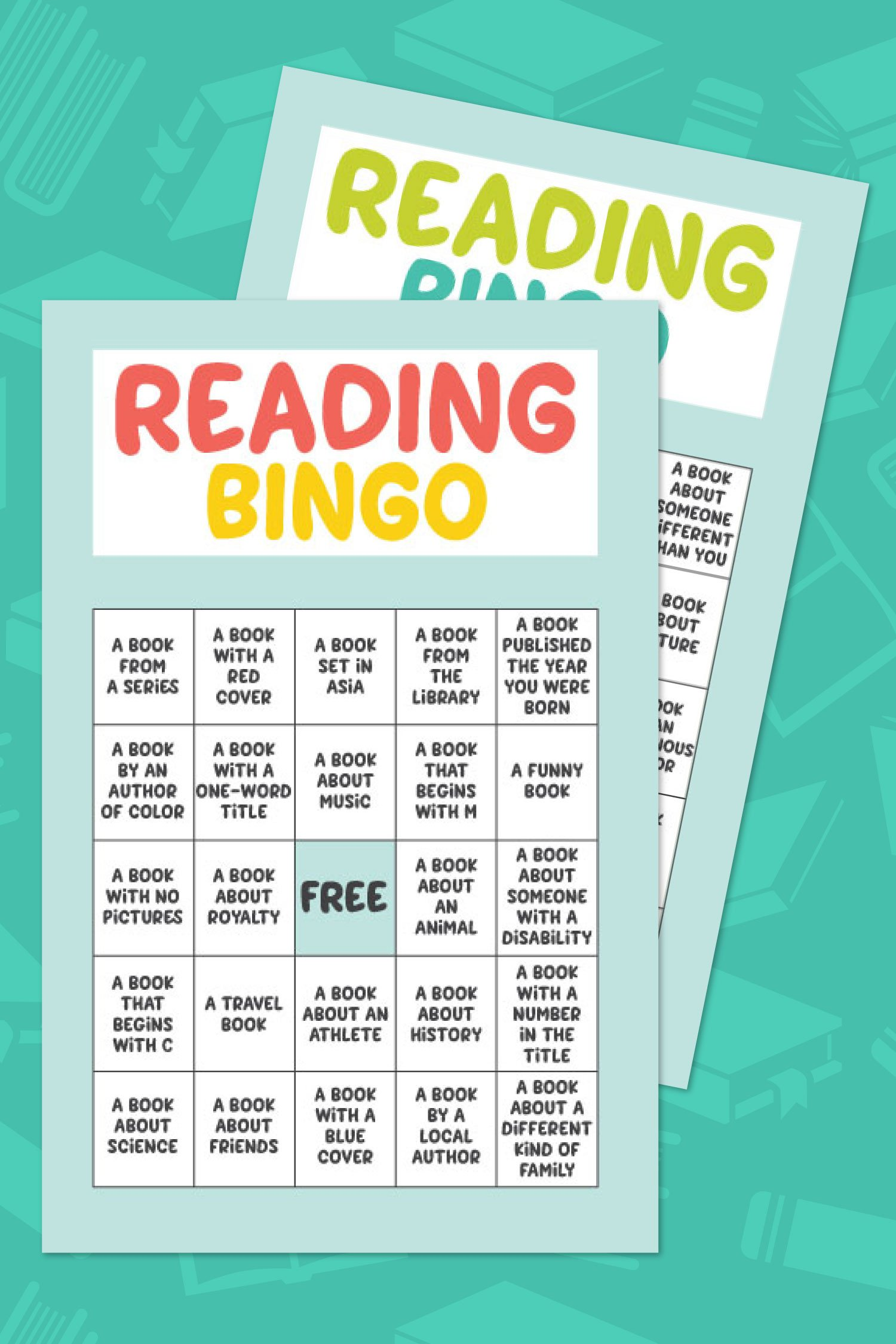 Free Printable Reading Bingo on teal background
