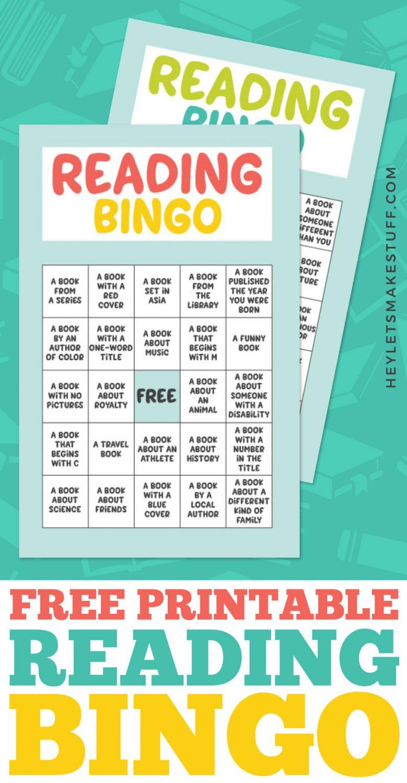 Free Printable Reading Bingo for Kids pin image