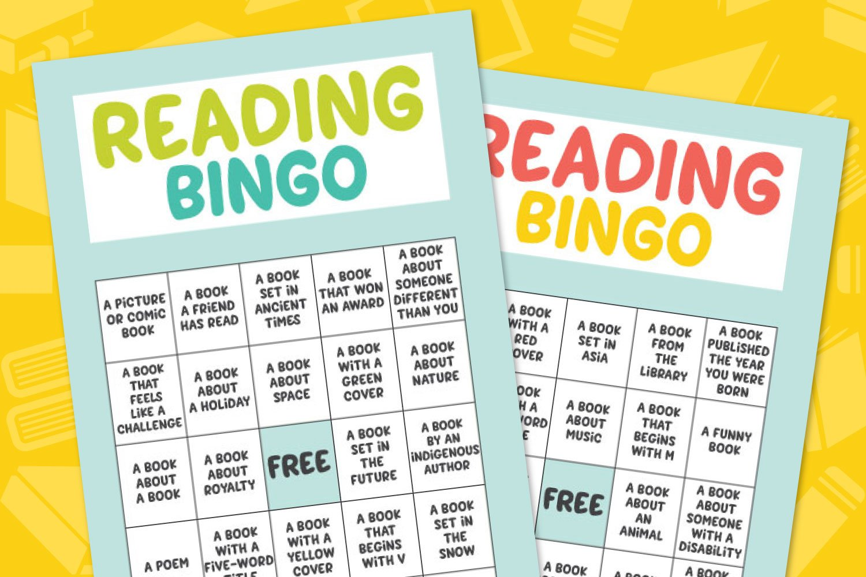 Free Printable Reading Bingo on yellow background