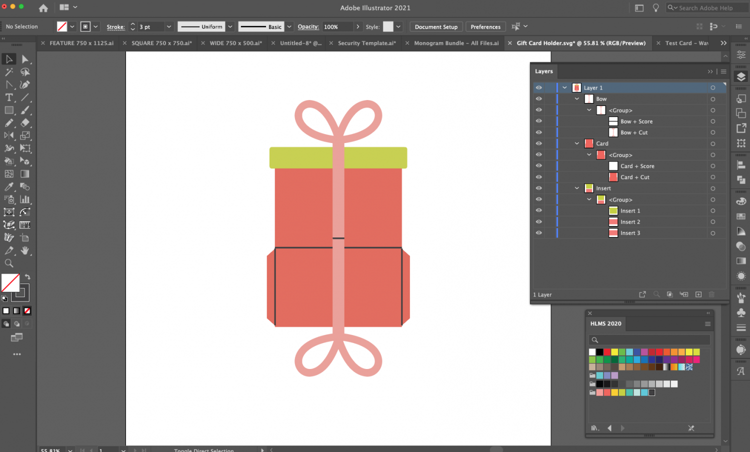 Adobe Illustrator: Gift Card File with score lines