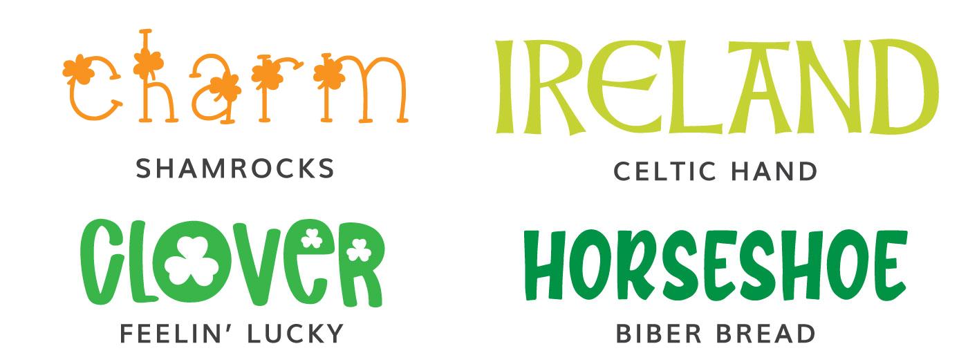 St. Patrick's Day Fonts: Shamrocks, Celtic Hand, Feelin' Lucky, Biber Bread
