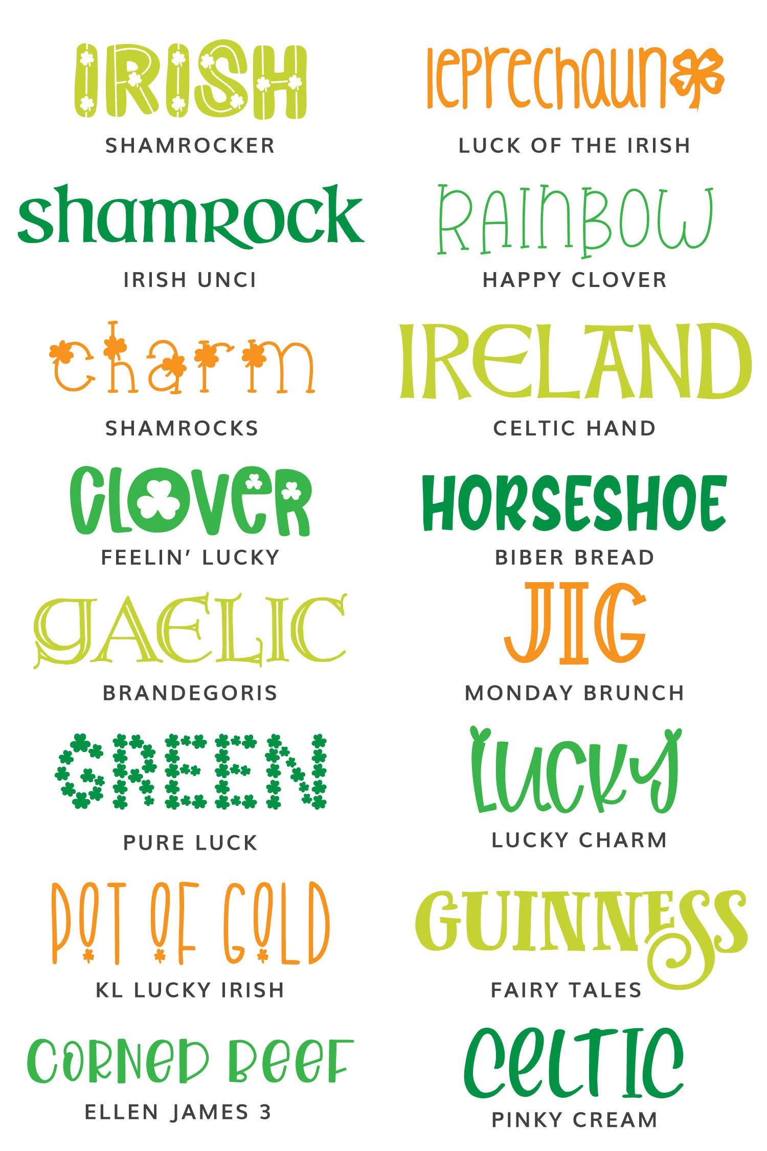 It's time to get lucky and start crafting for St. Patrick's Day! These cheap and free St. Patrick's Day fonts are perfect for all of your cutting machine crafts, including t-shirts, cards, home decor, and more!