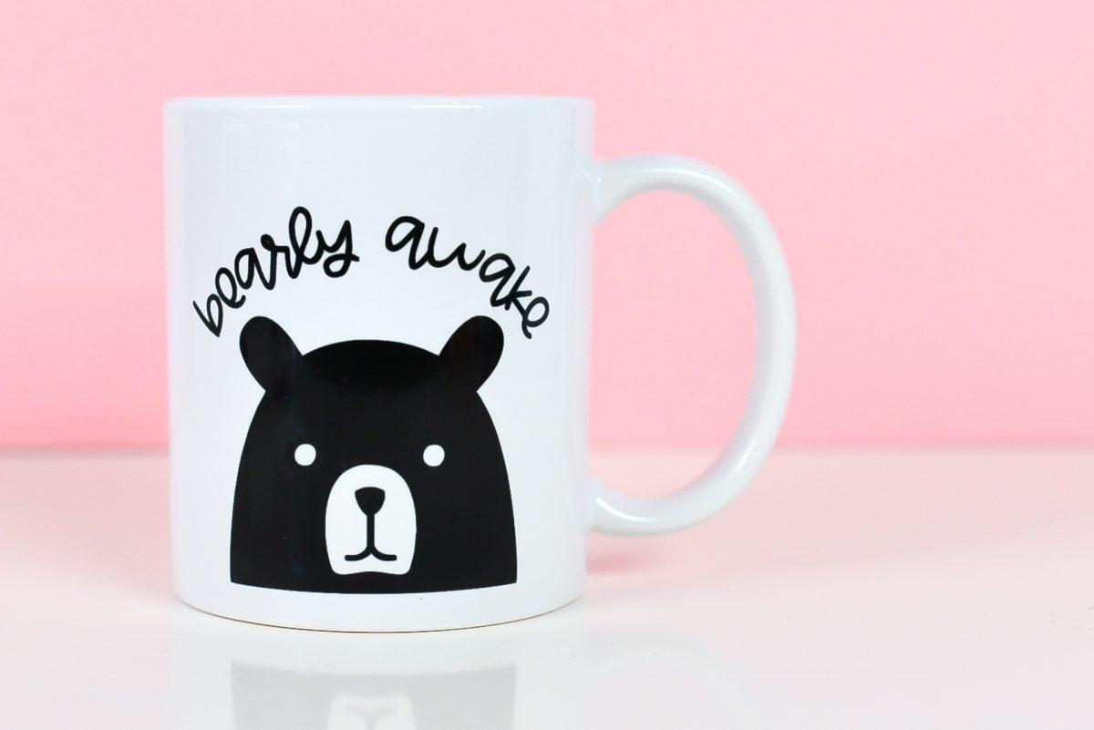 Bearly Awake SVG on mug with pink background