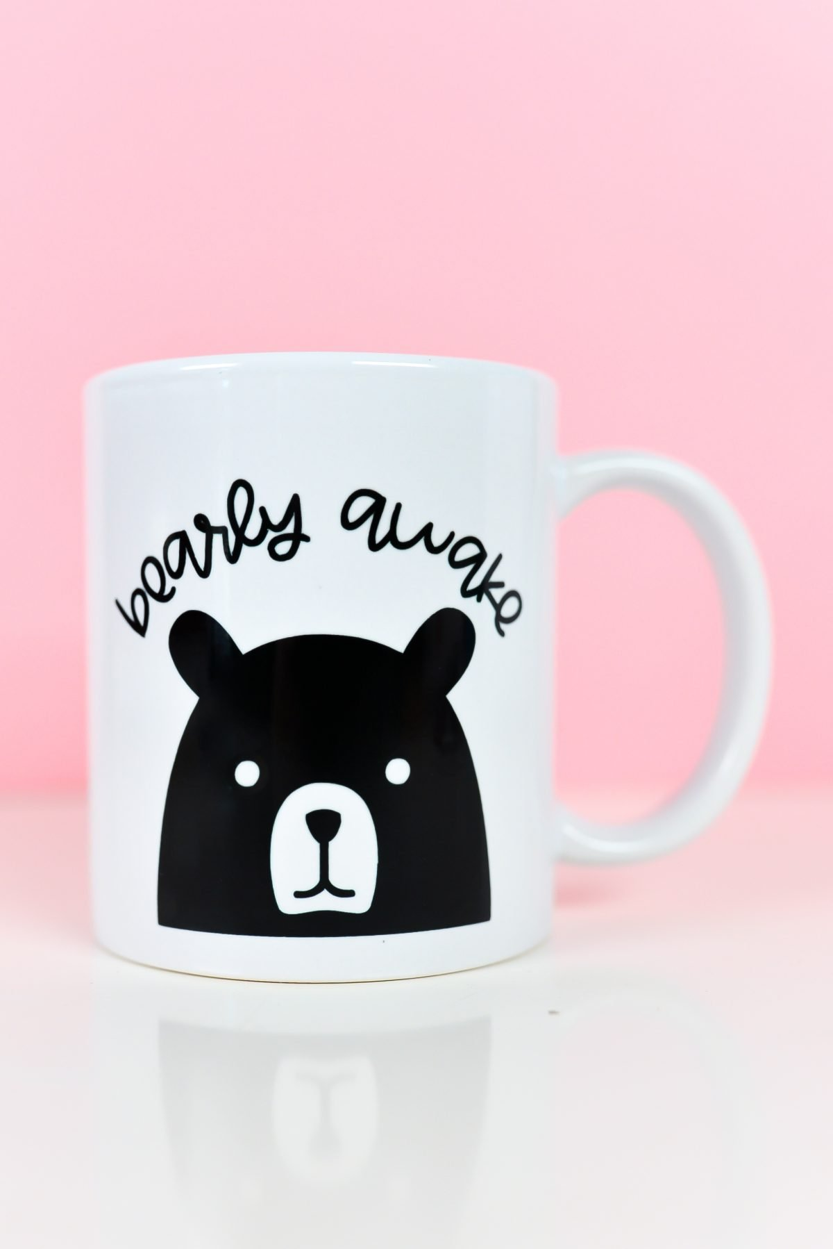 Bearly Awake SVG on mug with pink background
