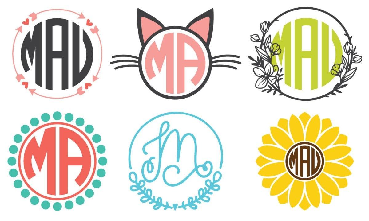 "Six ""circle monogram"" styles"