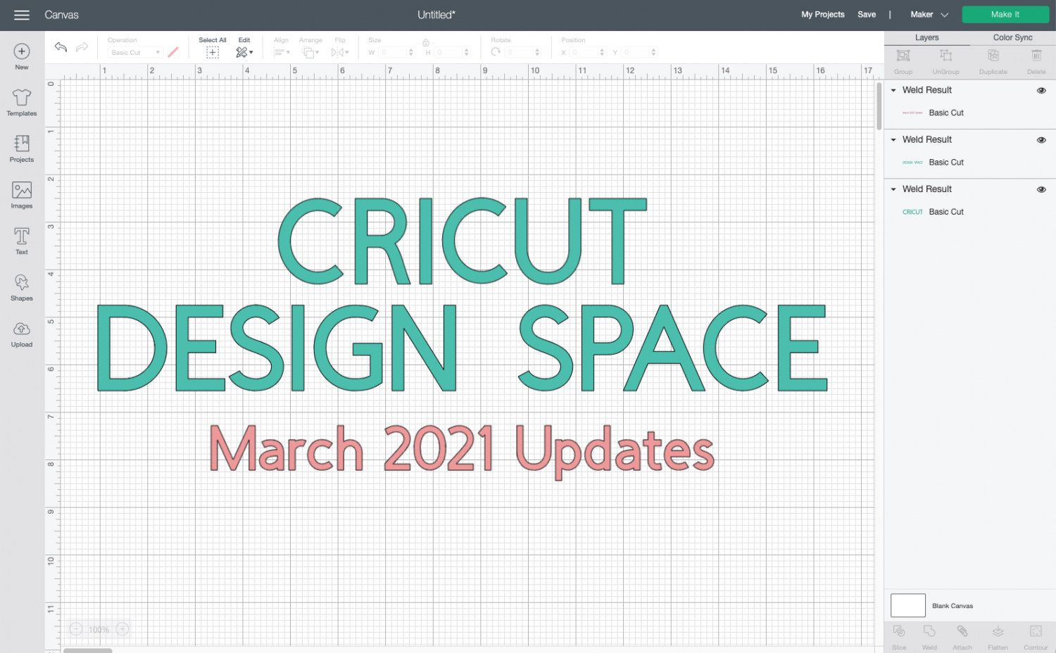 "Cricut Design Space with ""Cricut Design Space March 2021 Updates"" in text"
