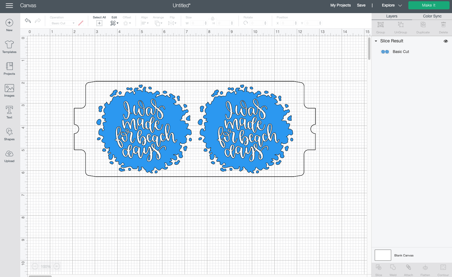 Cricut Design Space: Extra layers removed and recolored blue