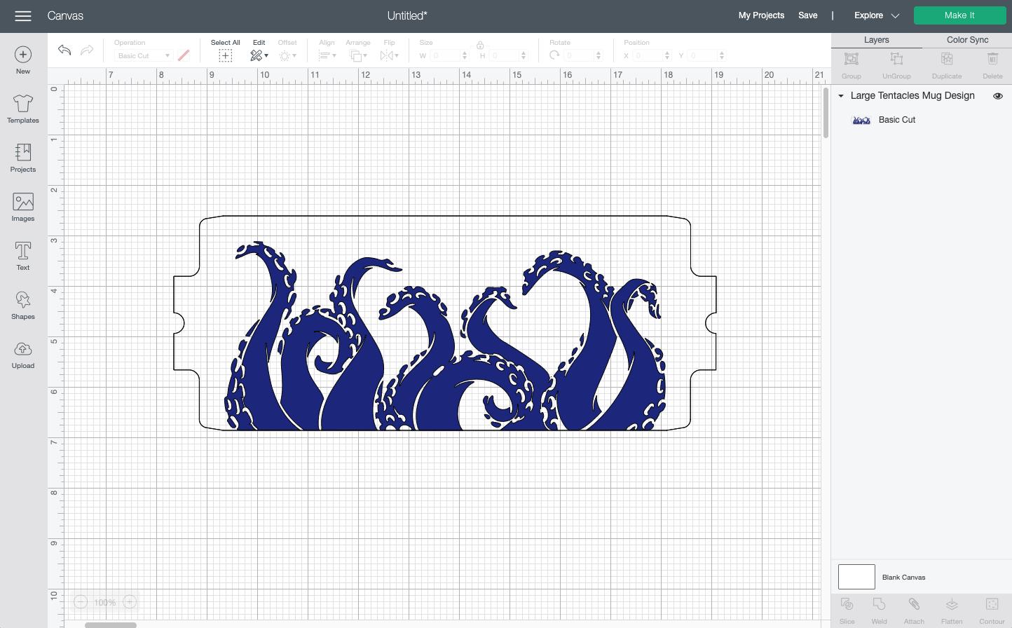 Cricut Design Space: Octopus mug wrap on Canvas