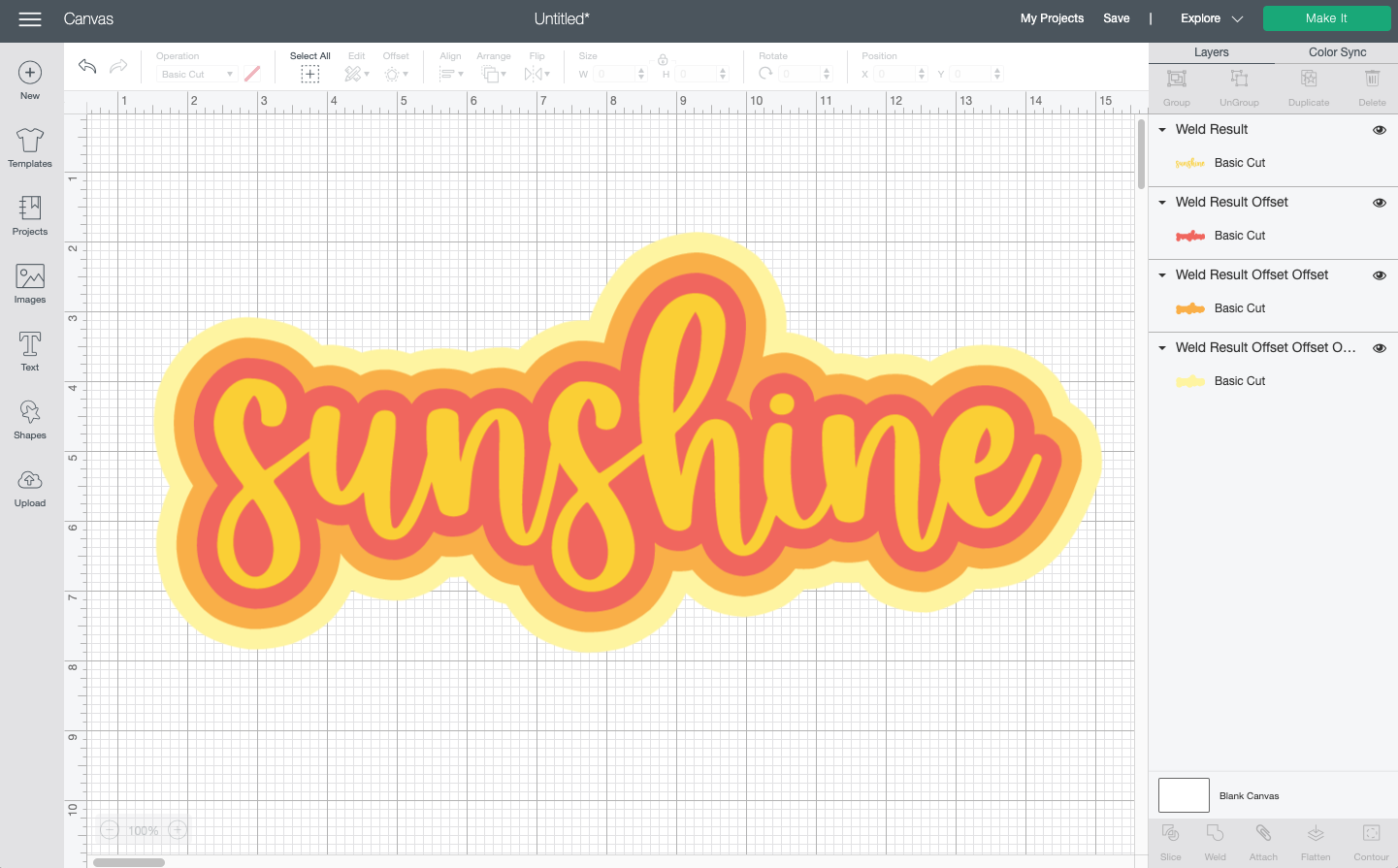 "Cricut Design Space: The word ""sunshine"" with three offset layers to create a ""retro"" look"