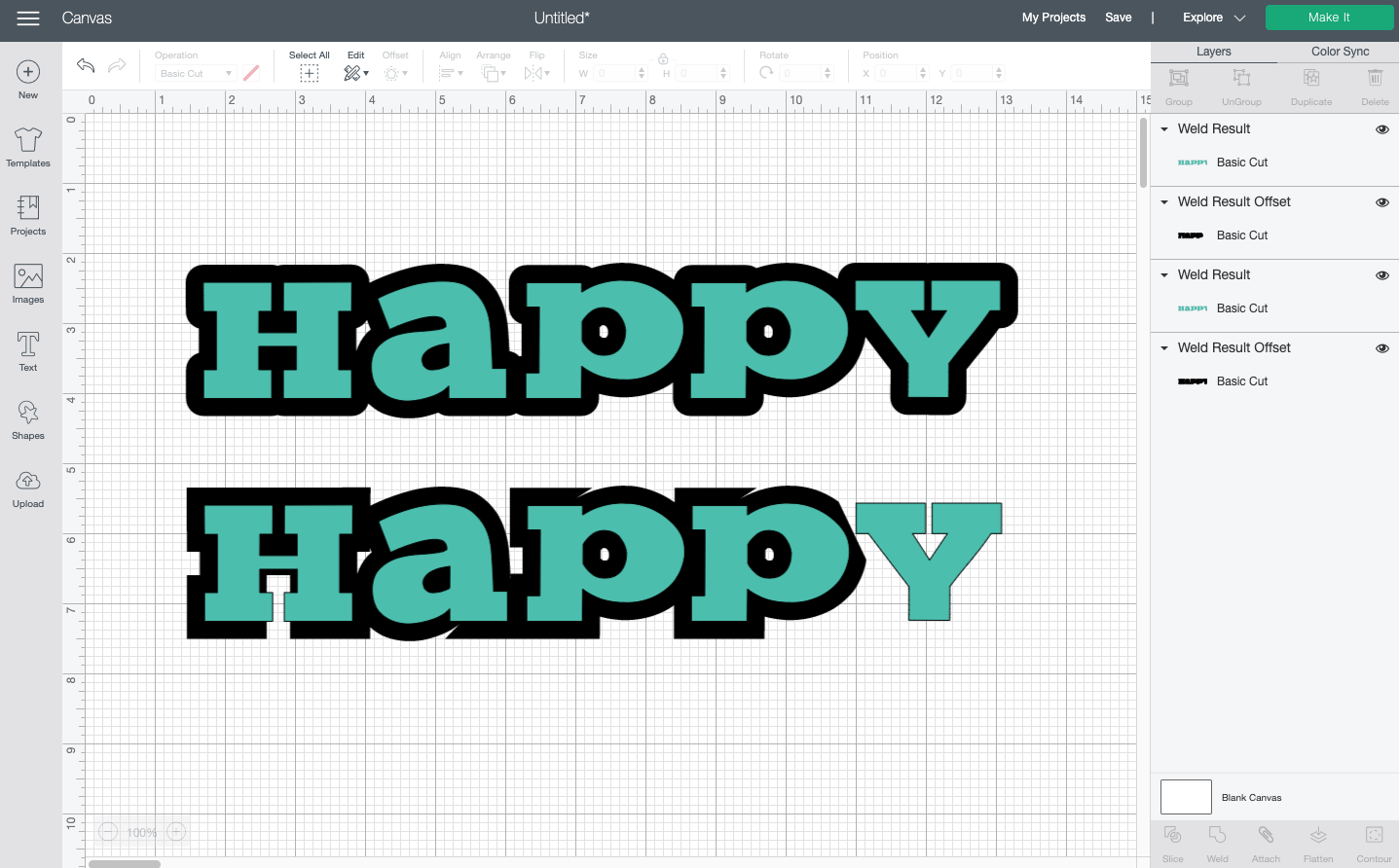 "Cricut Design Space: Rounded and square offset comparison on the word ""happy"""
