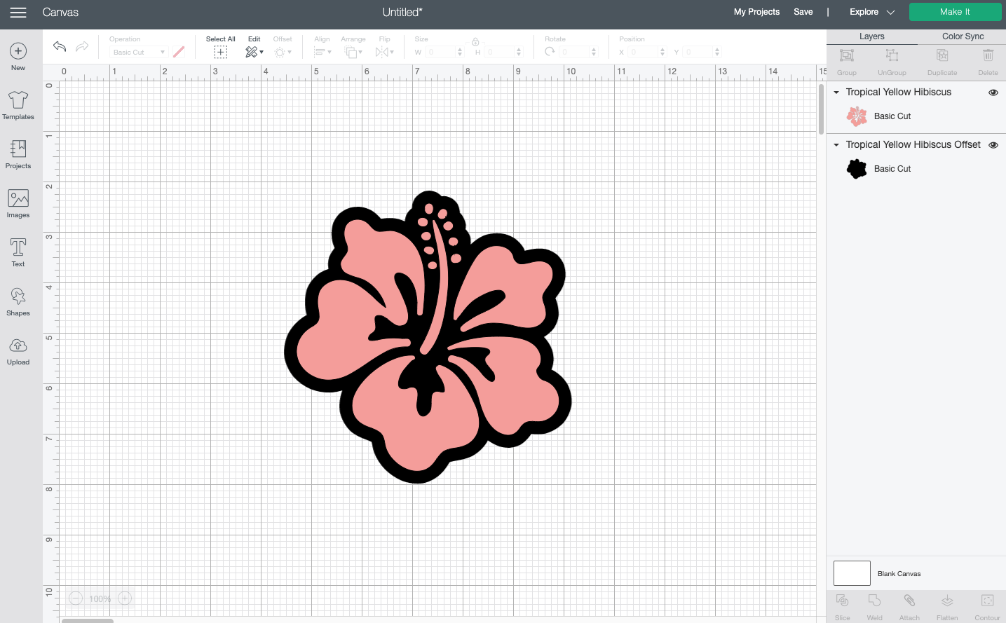 Cricut Design Space: Offset on hibiscus flower
