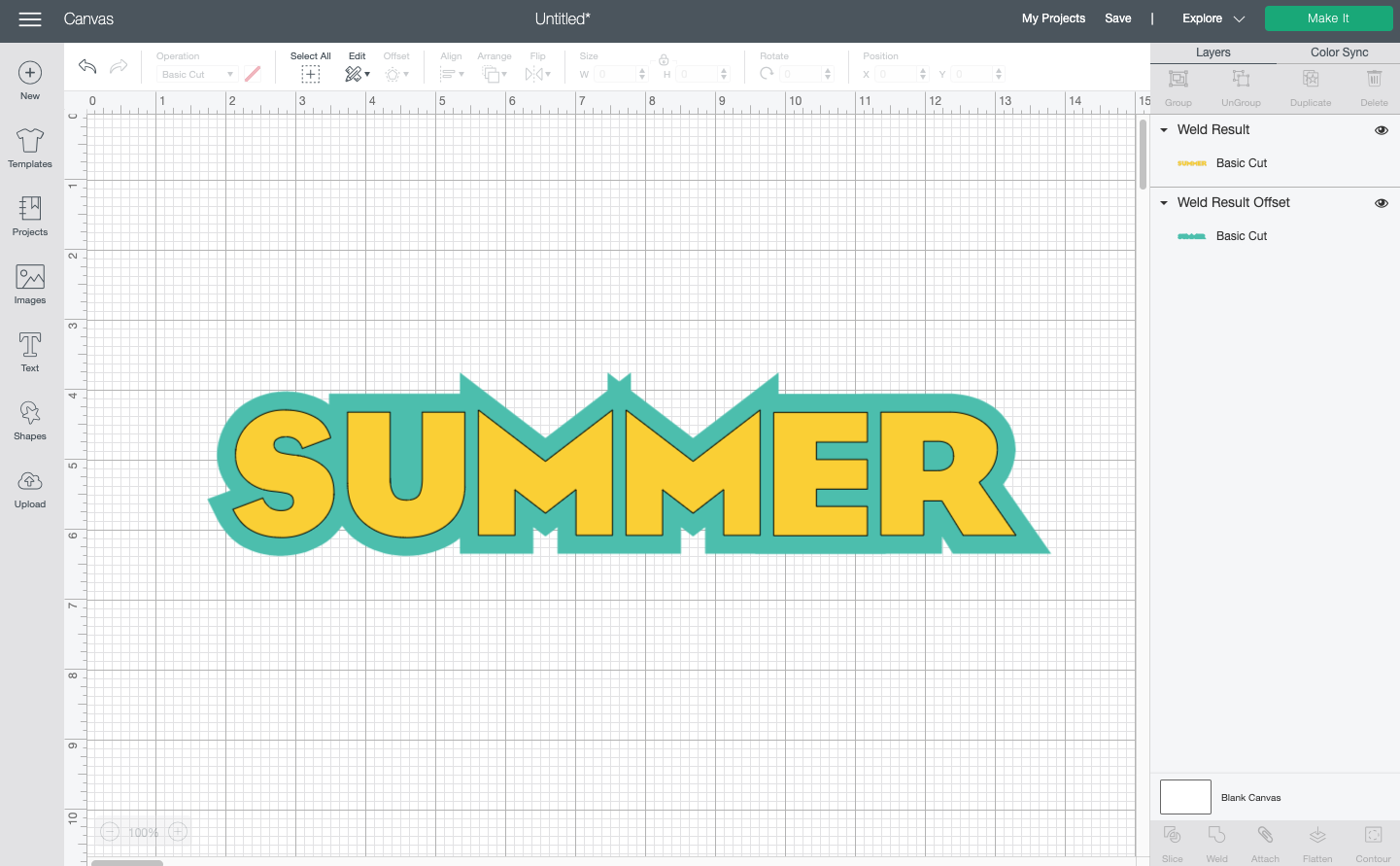 Cricut Design Space: The word summer with a less-than-desirable offset (the M's have funny spikes)