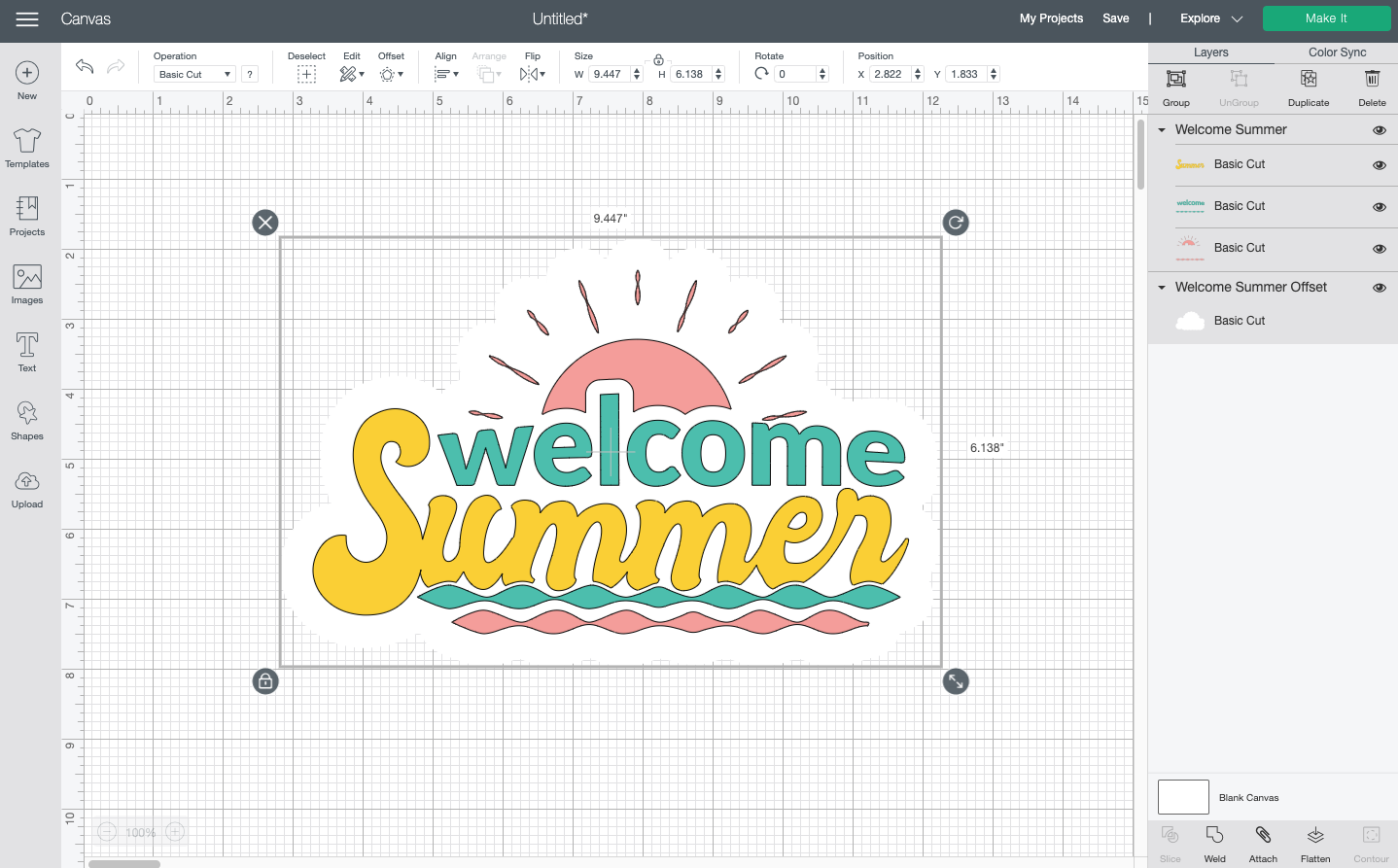 Cricut Design Space: Welcome summer with a white offset