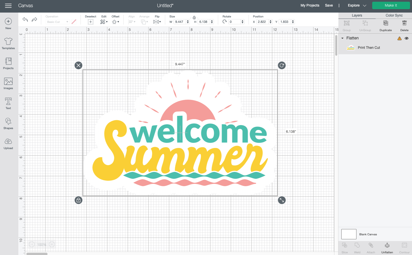 Cricut Design Space: Welcomes summer flattened image to make it a sticker