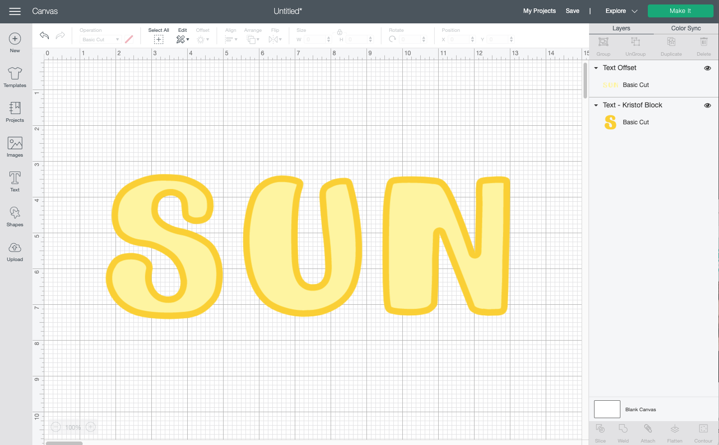 "Cricut Design Space: the word ""sun"" with an inset"