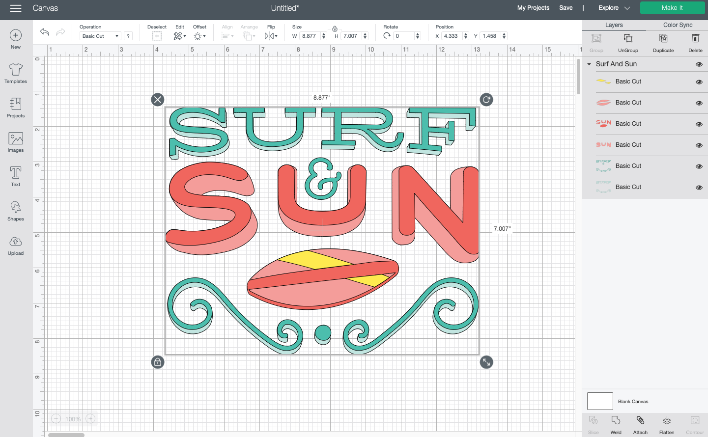 Cricut Design Space: Surf and Sun image from the Cricut Image Library
