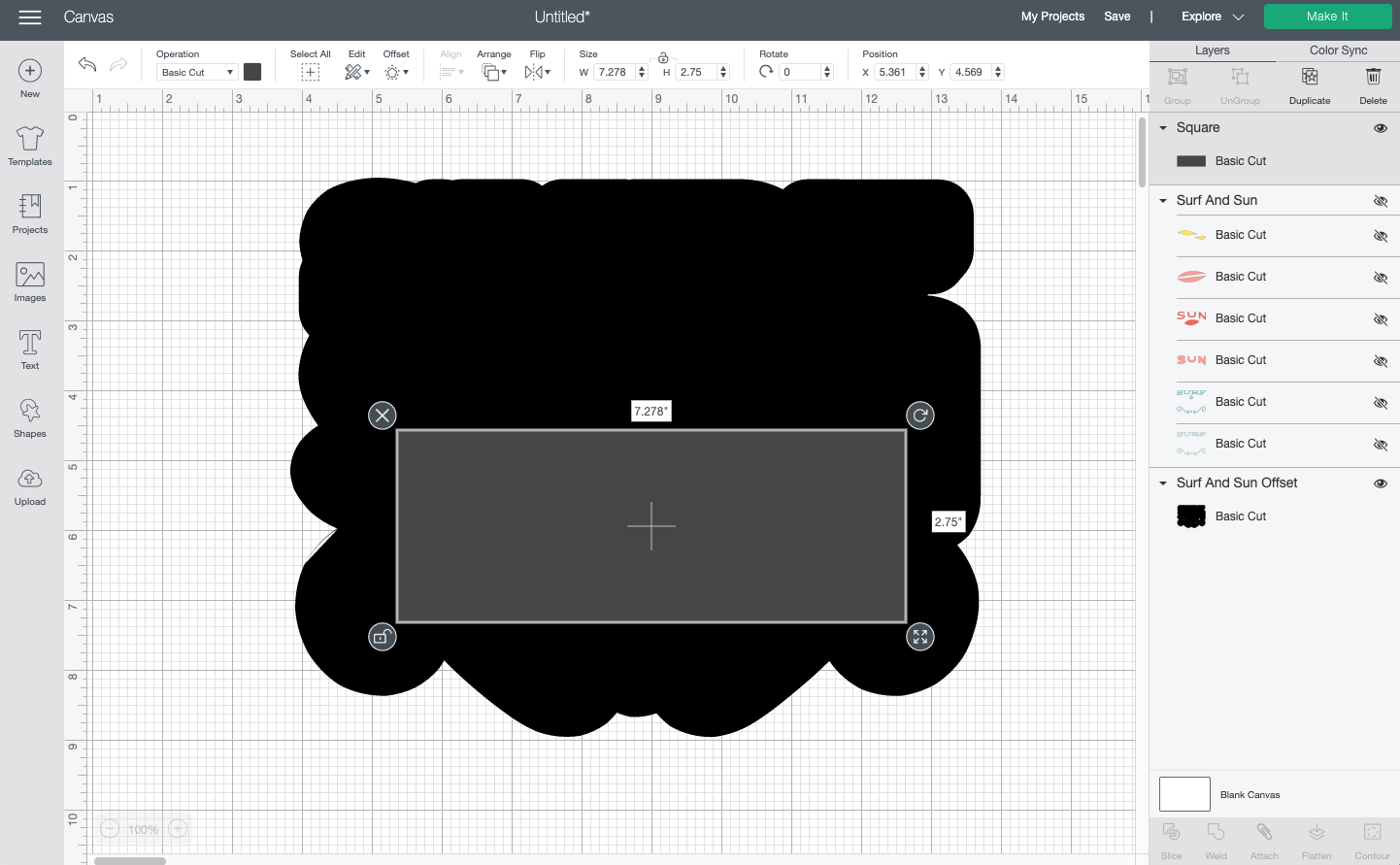Cricut Design Space: Showing how to weld a square and the offset to get rid of the holes