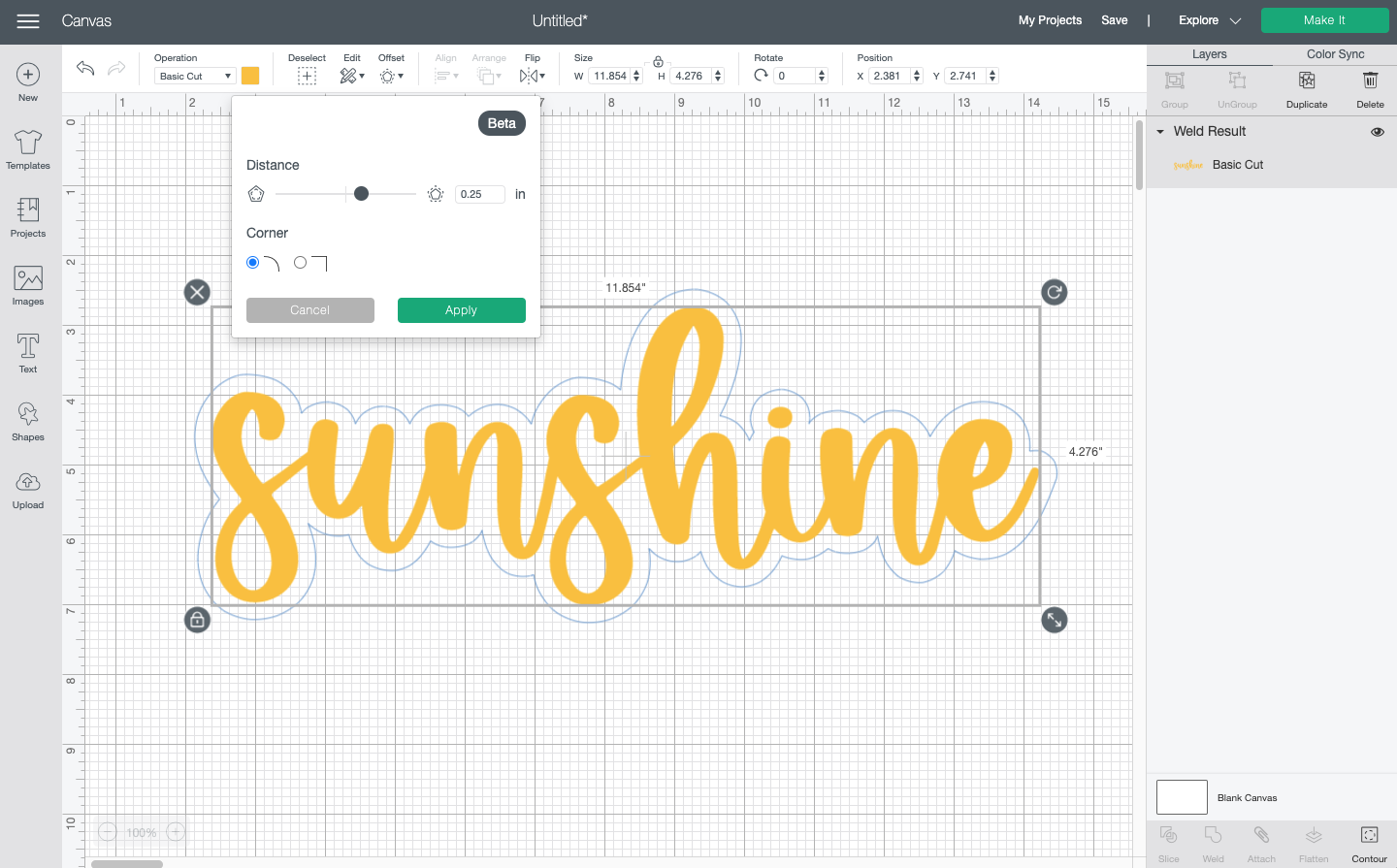 "Cricut Design Space: Showing offset around the word ""sunshine"""
