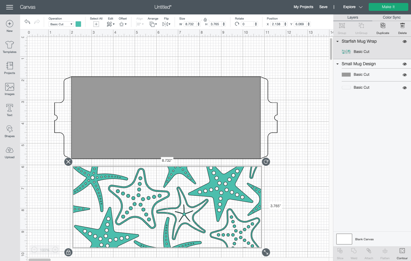 Cricut Design Space: Uploaded starfish file on Canvas with template