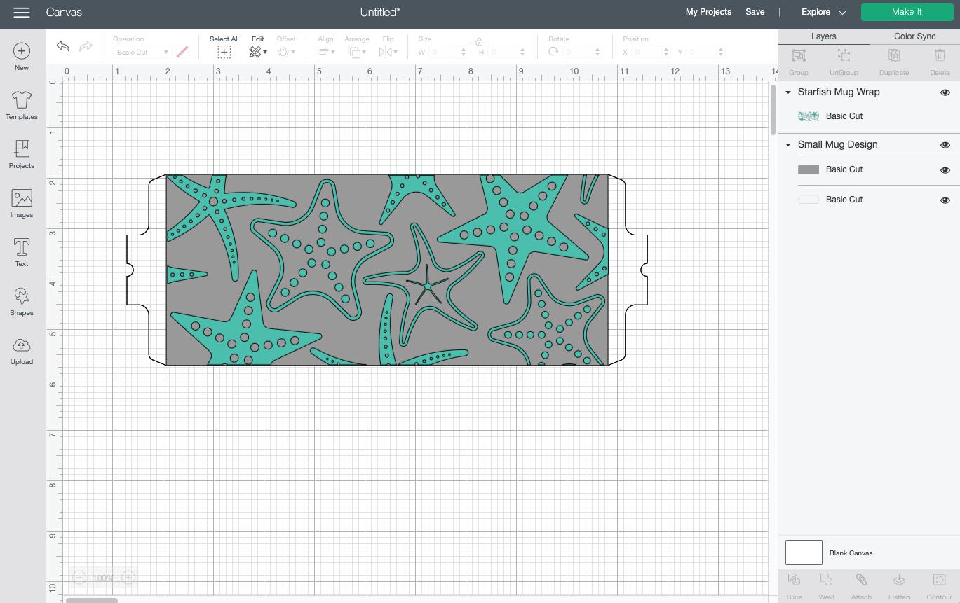 Cricut Design Space: Starfish design overlaid on template