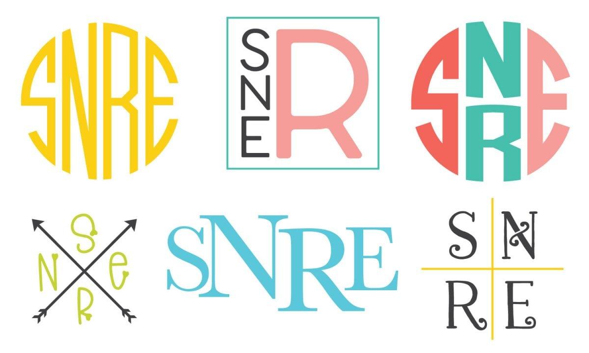 "Six styles of four-letter monogram ""SNRE""s"