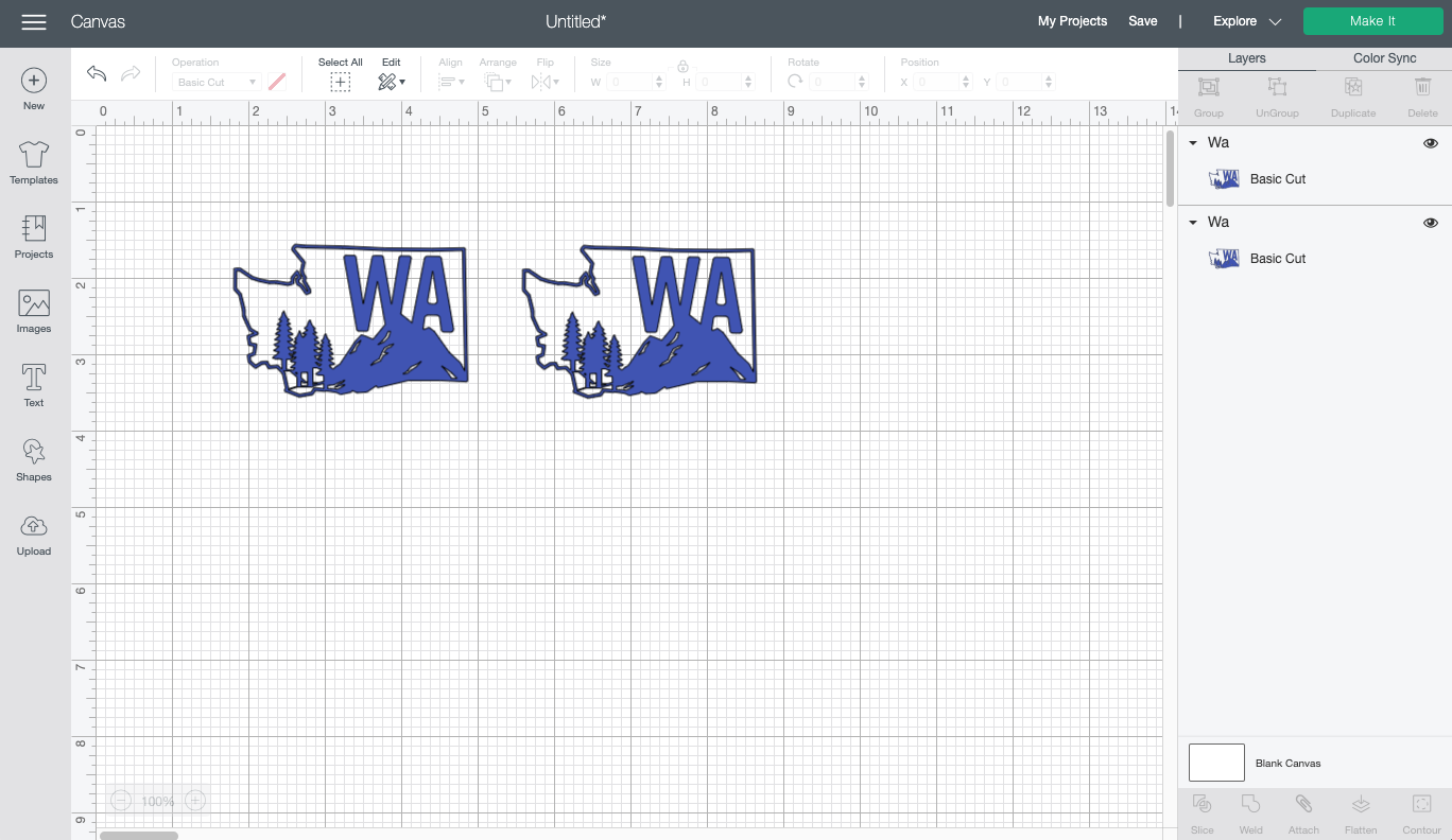 Cricut Design Space: Washington State image recolored to blue
