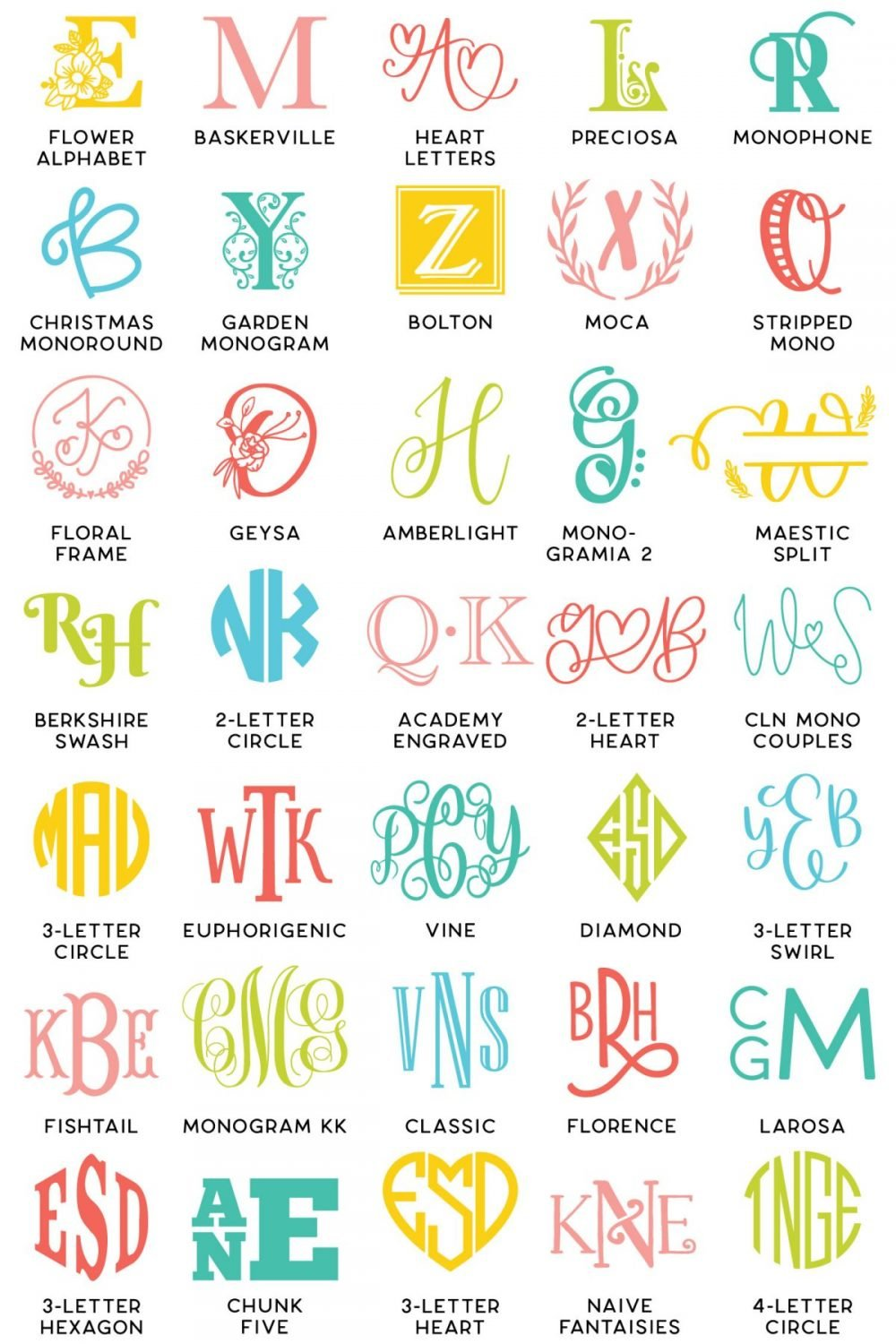 All the monogram fonts featured in this post