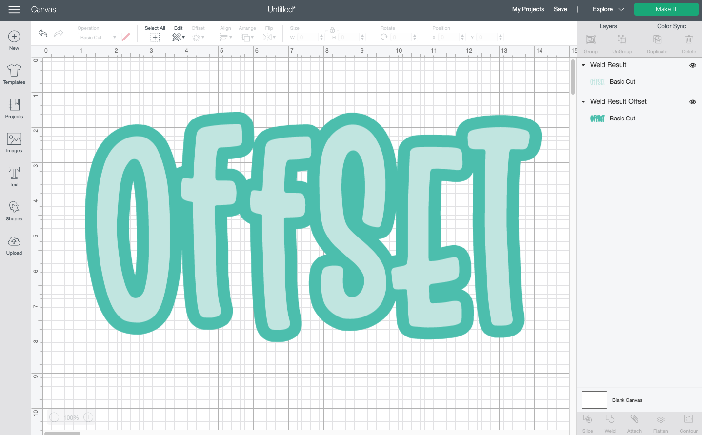 "Cricut Design Space: The word ""offset"" with an offset"