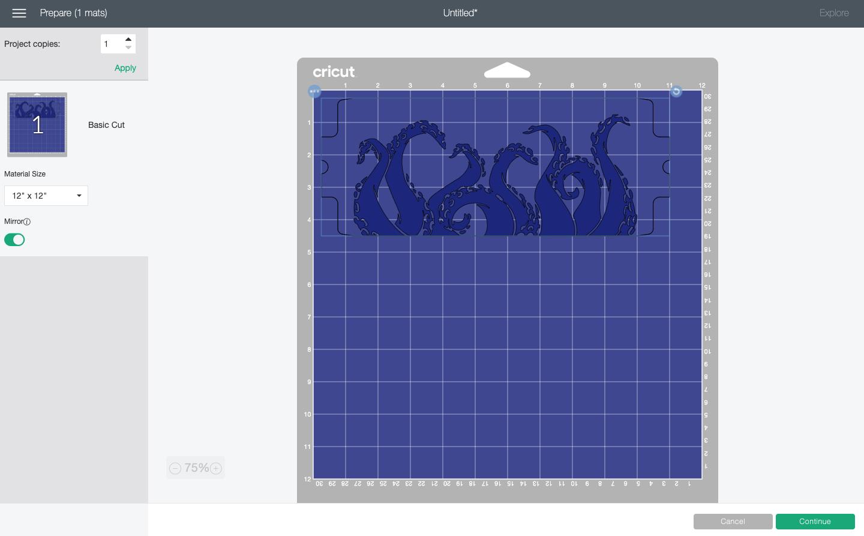 Cricut Design Space: Octpus mug wrap image on mat in Prepare Screen