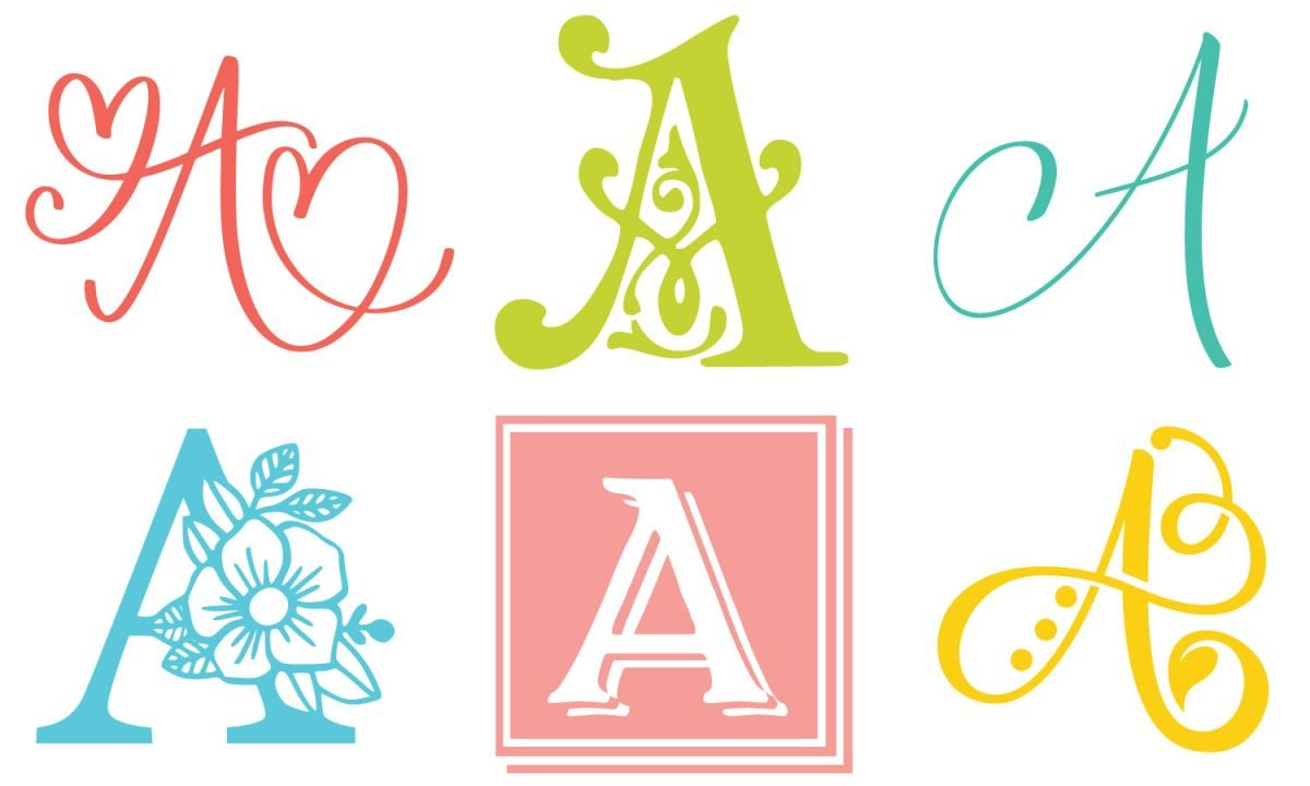 """Six styles of single-letter monogram """"A""""s"""